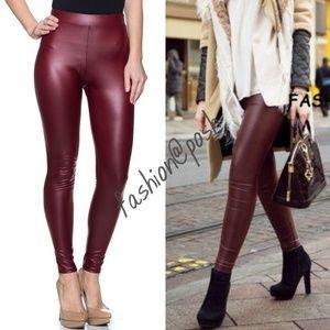 Faux leather leggings high waist Burgundy Matte